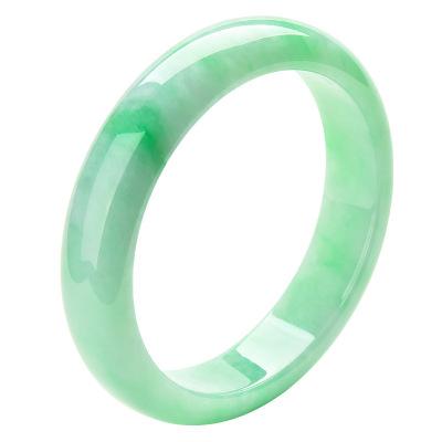 珀芙诺(Pofunuo)缅甸冰种飘阳绿翡翠手镯女玉石镯子玉镯A货玉手镯