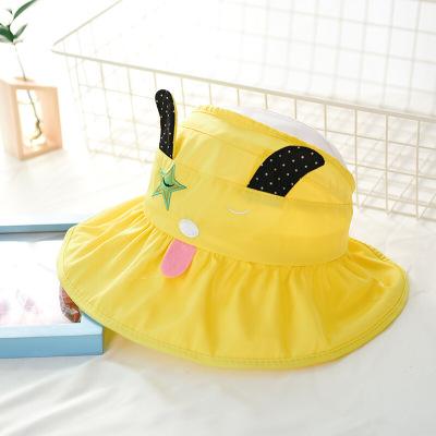 兒童帽子夏季空頂帽海邊防曬遮陽帽寶寶太陽帽韓版女童寬檐沙灘帽