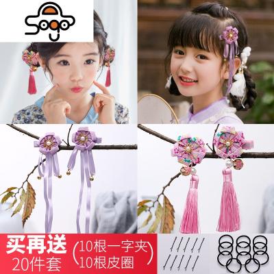 中国风儿童新年夹女童复古旗袍毛球流苏卡边夹宝宝古风头饰