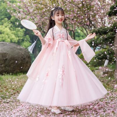 小女孩漢服女童夏裝仙女裙抖音齊襦裙夏季兒童古裝雪紡短袖連衣裙