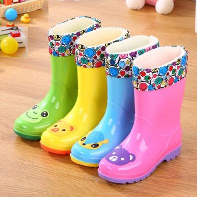 儿童雨鞋卡通中筒雨靴男童女童防滑鞋加绒保暖宝宝学生两用胶鞋
