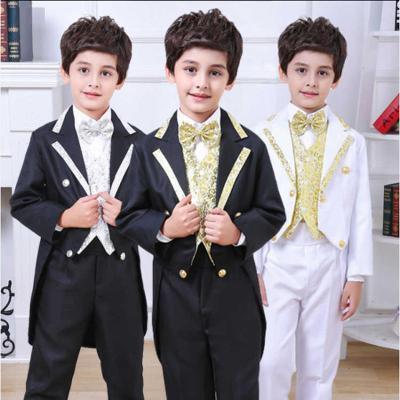 2018年冬季男童花童礼服套装婚礼燕尾服儿童小西装钢琴演出服小主持人表演服 威珺