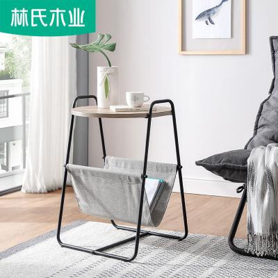 【拼】林氏木业现代简约客厅沙发边几小茶几北欧创意铁艺边桌圆桌LS093J2
