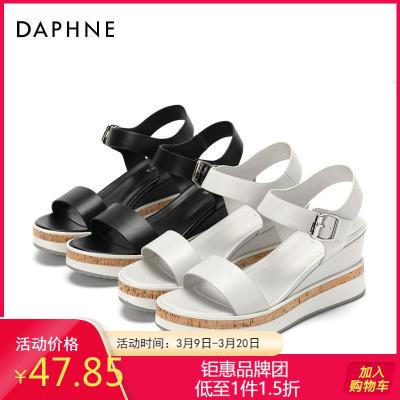 Daphne/達芙妮正品夏季純色時尚潮流休閑時尚一字扣松糕鞋涼鞋女