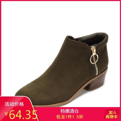 2018秋冬新款中跟短靴粗跟短筒韓版馬丁靴保暖冬靴女1017605011