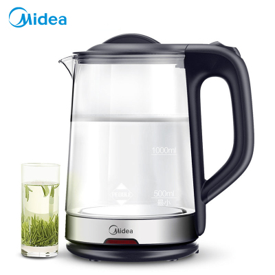 美的(Midea) 電水壺 玻璃壺身 燒水可視 全景開蓋 清洗無憂 MK-GJ1702 白色