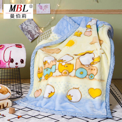 曼伯莉家紡 兒童拉舍爾毛毯保暖毯嬰兒毯抱毯 小鴨(藍)105cm*135cm