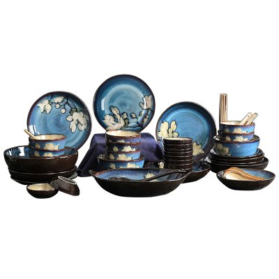 【玉泉】馨兰餐具套装碗碟56头手工印花中式陶瓷碗盘子家用10人