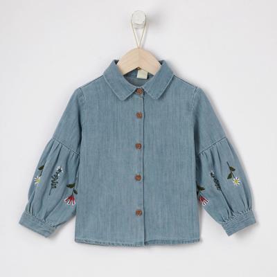 【1件3折价:58.8】moomoo童装女童上装2019夏季新款女中童纯色牛仔衬衫外套