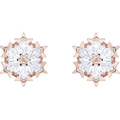 原裝進口SWAROVSKI Magic施華洛世奇雪花耳釘唯美雪花女士水晶耳飾玫瑰金色5428429 銀色5428430