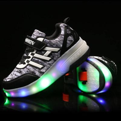 步乐高双走鞋带灯轮子鞋轮滑鞋学生暴走鞋男童滑轮鞋女童鞋 暗夜黑 34