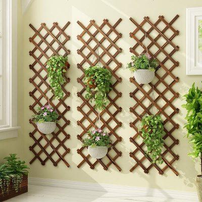 防腐实木质室内挂墙壁上花架子阳台装饰植物悬挂式客厅花盆架家用