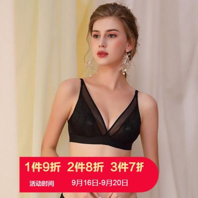 朗衣貝(Lang Yi Bei)2020新款水晶杯文胸防凸點透氣孔蕾絲內衣套裝女薄款聚攏無鋼圈收副乳大碼文胸1612#