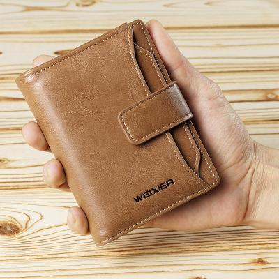 男士钱包多功能卡包带驾驶证钱夹男商务复古短款拉链休闲钱包