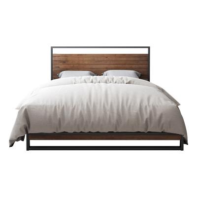 ZINUS/际诺思简约现代宽木靠背铁架床家具1.5m 1.8米卧室家具轻奢双人床 索纳特MW1