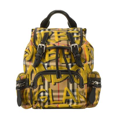 【正品二手99新】未使用 BURBERRY 黃色涂鴉格紋迷你雙肩包 10017108