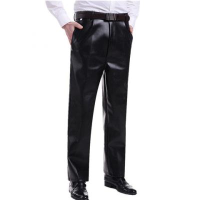 衫伊格(shanyige) 皮褲男中老年大碼男士機車褲子中老年寬松黑色男皮褲PU褲