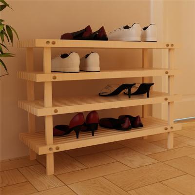慧樂家實木多層收納置物架松木鞋架門口鞋柜33005