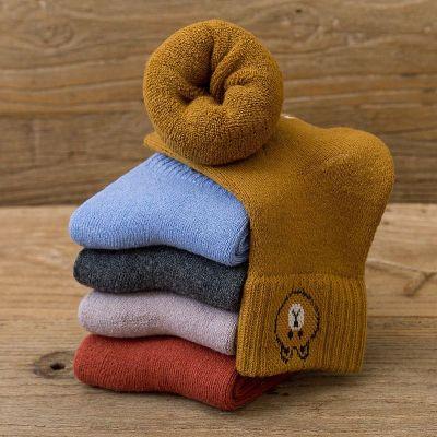 儿童袜子纯棉男女冬季加厚 加绒中大童冬天厚款中长筒棉袜1-12岁刘家琦