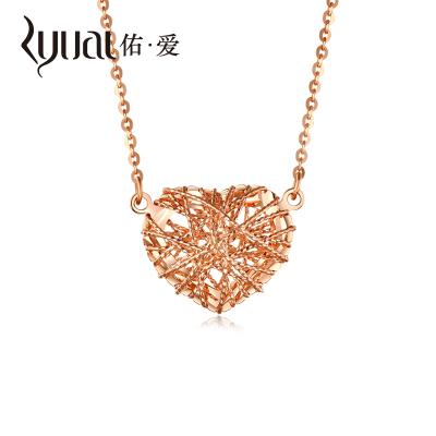Ryual 18K金項鏈 玫瑰金心形女士項鏈計價款 彩金拉絲工藝愛心項鏈 黃金 套鏈女款送女友戀人七夕情人節禮物