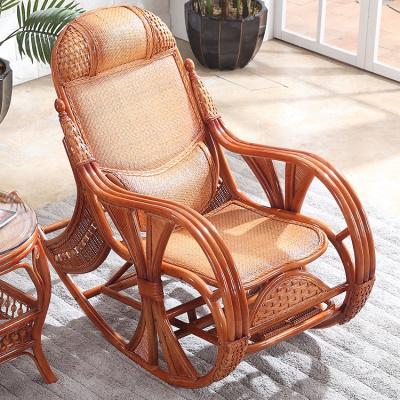 尋木匠真藤搖椅歐式田園老人成人椅 單人戶外陽臺客廳懶人藤椅 逍遙椅子