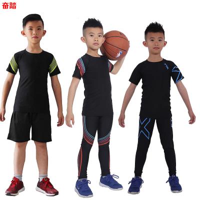 春夏兒童短袖緊身衣男彈力運動健身服套裝籃球足球訓練打底速干