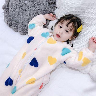 宝宝睡衣秋冬装儿童法兰绒连体衣女童珊瑚绒加绒加厚睡袋1-3-5岁6 臻涩