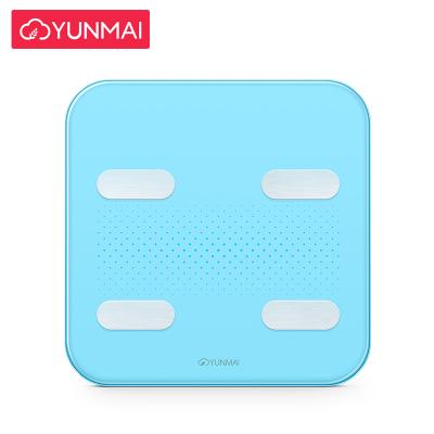 云麦(YUNMAI)好轻Color2智能家用体脂秤天空蓝 29项身体数据测量 精准测体脂称体重 钢化玻璃材质 重量1.7KG