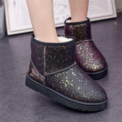 雪地靴女款學生韓版加厚短筒靴子女士新款亮片雪地棉鞋保暖雪地鞋 莎丞