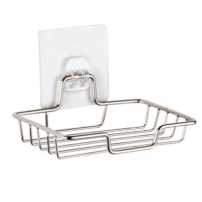 嘉能 浴室免打孔壁挂单层置物架不锈钢卫生间无痕贴肥皂盒