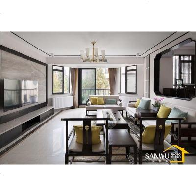 HOTBEE大户型新中式沙发组合禅意现代别墅客厅实木家具样板房整装定制