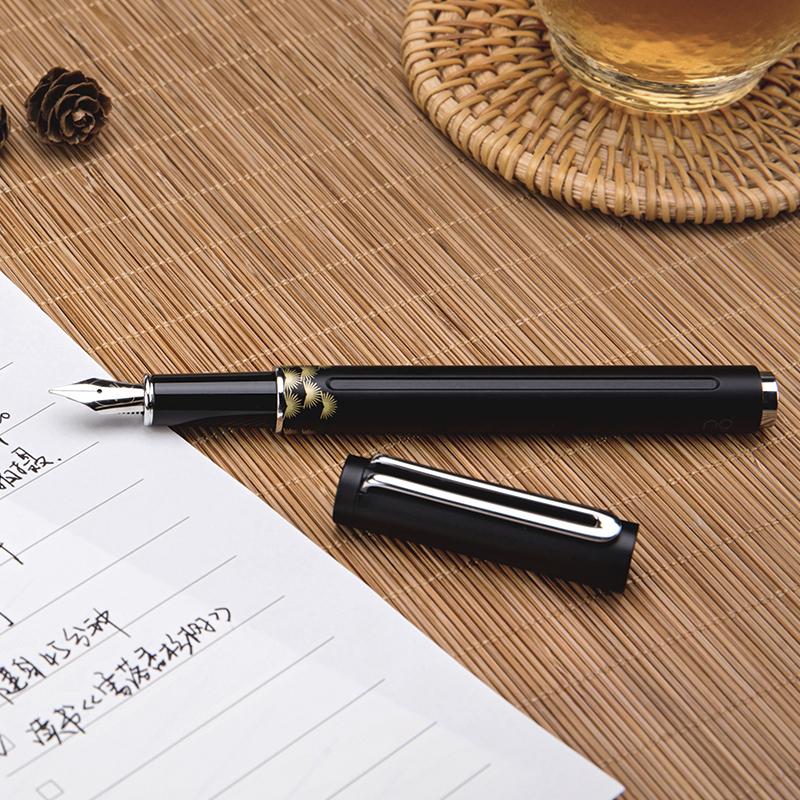 苏宁极物 n9荧荧系列 F笔尖钢笔铱金笔办公墨水笔签字笔 黑色-烟波