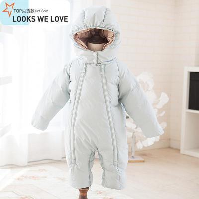 婴儿羽绒服连体衣儿男女宝宝0-1岁冬季白鸭绒加厚外出服爬服