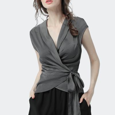 愫惠君2020夏季新款女裝短袖時尚收腰交叉領雪紡衫女8306