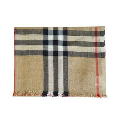 【正品二手99新】博柏利(BURBERRY)博柏利 经典 格纹 混纺款围巾 全套含票 羊毛 桑蚕丝