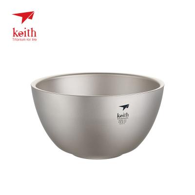 keith铠斯纯钛双层饭碗防烫隔热钛碗居家户外便携钛餐具Ti5354