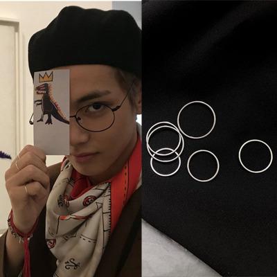BTS金泰亨同款戒指关节戒个性简约蹦迪男套装细骨节尾戒指环