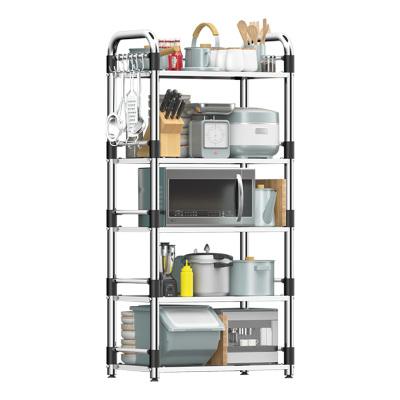 四季沐歌(MICOE)不銹鋼廚房置物架落地多層電飯煲家用烤箱微波爐置物架