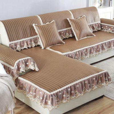 沙發墊夏季涼席墊涼墊歐式冰絲席子夏天藤席防滑套罩全坐墊子