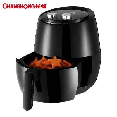 长虹(CHANGHONG)电烤炉 无油无烟空气炸锅 CZG-26A02黑色 旋钮控温 家用多功能4L大容量 薯条机炸鸡锅