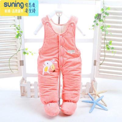 兒棉衣冬季加厚夾棉兒童背帶褲嬰兒連腳褲男女寶寶包腳保暖褲