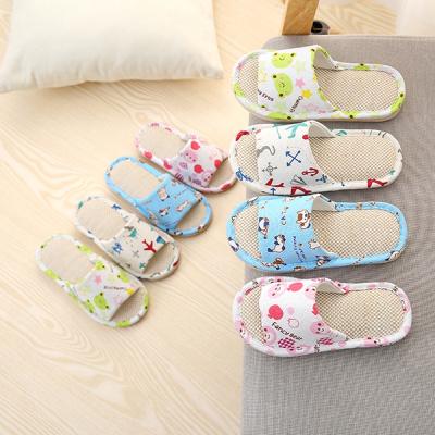 兒童涼拖鞋寶寶女童男童室內春夏季四季居家用親子亞麻布防滑小孩