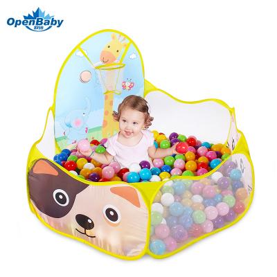 歐培(OPEN BABY)兒童帳篷室內游戲池 海洋球池 寶寶游戲屋波波球池 寶寶樂園 黃貓咪+50球
