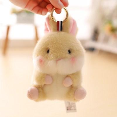 【精品好貨】可愛倉鼠書包掛件熊貓兔子小公仔包包吊墜毛絨玩具小號娃娃女 棕黃色兔子 13厘米球球掛件