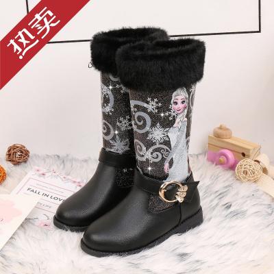 迪士尼官方女童靴子公主靴2019秋冬季新款宝宝加绒棉鞋儿童雪地靴高筒爱莎靴小孩子的