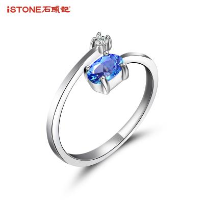 石头记 如意 合成水晶戒指女925银戒指指环日韩流行饰品