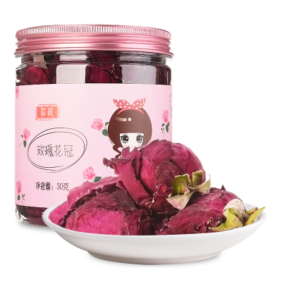 莊民(zhuang min) 玫瑰花冠30g/罐 大朵型精選好貨 墨紅干花茶葉花草茶