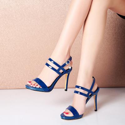 品點(Pandell)夏季新款真皮涼鞋女細跟女鞋高跟鞋一字帶女式涼靴防水臺鞋子
