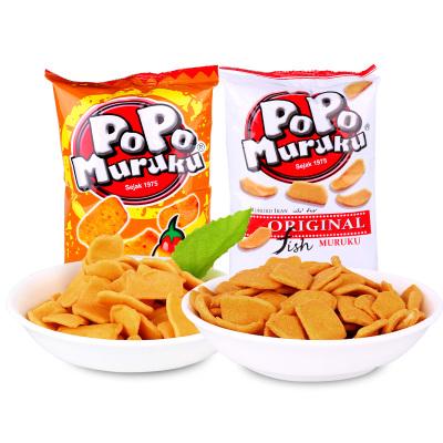 馬來西亞進口popo魚味豆餅香化脆餅鍋巴孕婦休閑零食品膨化香辣味14g*50小包700g超大包