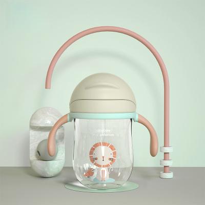 baby care嬰兒學飲杯 幼兒園寶寶防摔防嗆帶手柄重力球兒童吸管水杯 淡藻綠-240ml